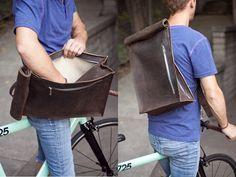 Brown Leather Bike Messenger Bag