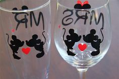 Disney Mr. & Mrs. Wine and Beer Glass Combo by GameDayCheers