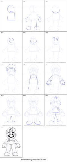How to Draw Mario from Super Mario step by step printable drawing sheet to print. Learn How to Draw Mario from Super Mario How To Draw Mario, Animated Cartoon Movies, Drawing Sheet, Pin Interest, Camping Crafts, Step By Step Drawing, Learn To Draw, Super Mario, Bro