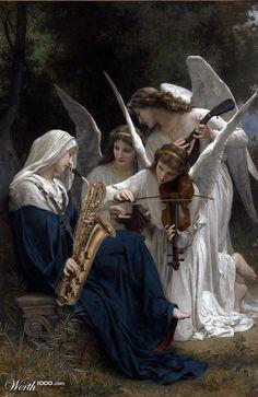 W. A. Bouguereau - Il Canto degli Angeli, 1881.  (Rifacimeto: Opere d'Arte Idiote) too funny!!!