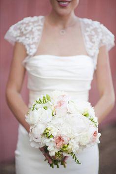 Pink, white, and green bouquet (Lauren Larsen)
