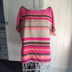 Ann Taylor Loft striped top Classic short sleeve top in multi color stripes in shades of brown, tan, peach pink and coral. Gently worn with some signs of wear (a few minor spots see close up pic). So cute and versatile! LOFT Tops