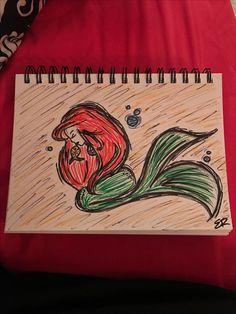 "Mermaid, Fish, Underwater, Sketch ""Ariel"" Medium-Pencil/Marker Artist-Erika Regan Facebook-@erikareganart"