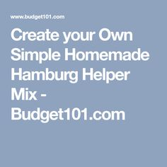 Create your Own Simple Homemade Hamburg Helper Mix - Budget101.com