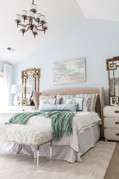 The Reveal of our One Room Challenge: Master Bedroom Makeover! Our calming, serene and chic master bedroom retreat is a timeless reflection of our style. Chic Master Bedroom, Master Bedroom Makeover, Master Bedroom Design, Bedroom Decor, Bedroom Ideas, Bedroom Retreat, Bedroom Themes, Teen Bedroom, Cozy Bedroom
