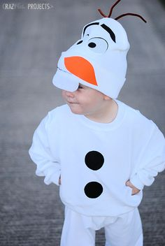 DIY Olaf Costume (with templates) HAT: Adjust carrot nose to be and centered (more similar to official Disney hood/face)