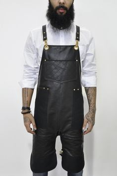 Bartender Apron in Chambray Salon Aprons, Split Legs, Leather Apron, Top Stitching, Leather Working, Chambray, Black Tops, Overalls, Hair Cuts