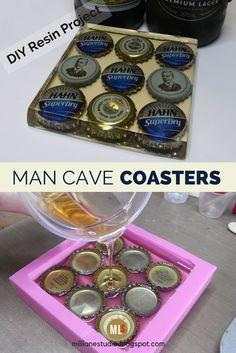 Man Cave Resin Coaster Kit is part of Home bar accessories - How to make resin beer bottle cap coasters These are a great accessory for a bar or man cave and make a great talking point at barbecues Bottle Cap Coasters, Diy Coasters, Coaster Crafts, Coaster Art, Diy Resin Crafts, Crafts To Sell, Stick Crafts, Easy Crafts, Easy Diy
