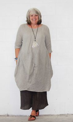 CHEYENNE  ZT0376  Flax  ARTSY BALLOON DRESS Long Tunic  S/M  L/XL  LINEN GAUZE
