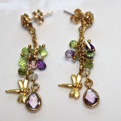 Amethyst Teardrop Gold Vermeil Dragonfly Peridot Dangle Earrings