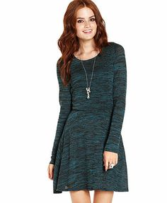 Tempted Juniors Dress, Long Sleeve Space-Dye A-Line They have these in dark purple. I kinda like them. Idk