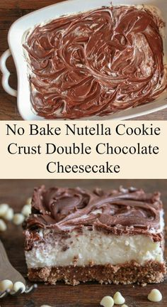 Easy No Bake Nutella Cookie Crust Double Chocolate Cheesecake, with a better than Oreo crust, the ultimate creamy no bake chocolate cheesecake dessert recipe/anitalianinmykitchen.com