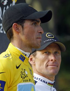 Yellow jersey Alberto Contador and teammate Lance Armstrong