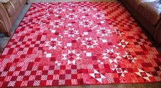 Rocky Mountain Stars Red Batik Quilt Queen Size by TheQuiltingBugg