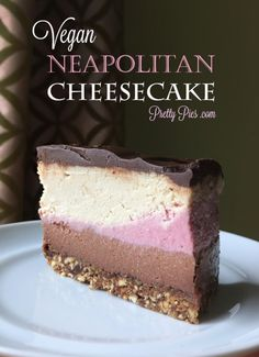 Three delicious cheesecakes in one with NO dairy, gluten, grains or refined sugar. Vegan Neapolitan Cheesecake | Pretty Pies #vegan