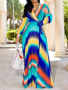 Cheap Daily Dress Lovely Trendy V Neck Print Multicolor Maxi Dress African Fashion Dresses, African Dress, Daily Dress, Floor Length Dresses, Casual Dresses, Maxi Dresses, Floral Dresses, Cheap Dresses, Party Dresses