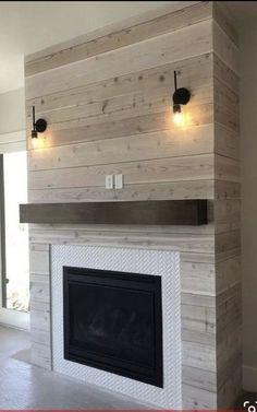 Basement Fireplace, Fireplace Redo, Farmhouse Fireplace, Fireplace Remodel, Living Room With Fireplace, Fireplace Design, Fireplace Mantels, Fireplace Ideas, Shiplap Fireplace
