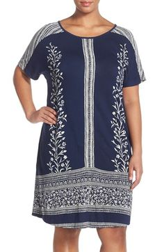 Lucky Brand Border Print Shift Dress (Plus Size) available at #Nordstrom