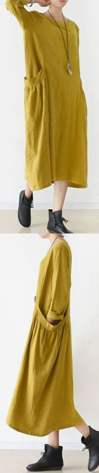 2017 SPRING FINE YELLOW LINEN DRESSES COZY LARGE POCKETS