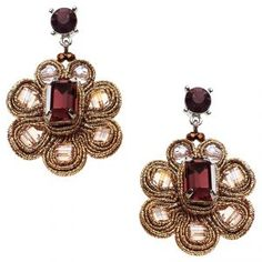 Flower Earrings in Plum