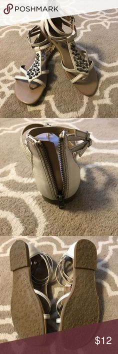 Mudd Cream Sandals Size 9 Mudd sandals from Kohl's. Beautiful embellishments with a back zipper. Only worn a handful of times. Perfect condition! Mudd Shoes Sandals