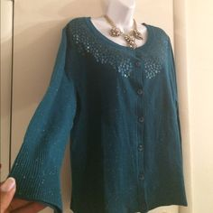 PRICE DROP Green Shimmery Sequin Sweater Green shimmery sequin cardigan sweater, button front, silver shimmery metallic threads, sequin front, 59% cotton 40% acrylic 1% other fibers, Cj banks Sweaters Cardigans