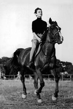 Audrey Hepburn on a horse