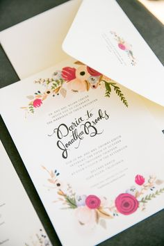 Floral Invites | Larissa Cleveland Photography | Theknot.com