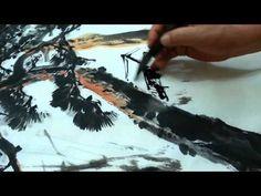 Korean Brush Painting - (7) Pine Trees (소현의 소나무그리기) - YouTube