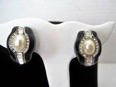 Pearl Rhinestone Earrings, Black Enamel, Setting, Vintage Wedding Elegance