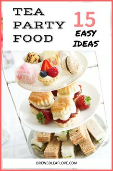 Easy, creative and delicious tea party food ideas that cover all three afternoon tea courses: sandwiches, scones and sweets. Great recipes for your . Baby Shower Afternoon Tea, Best Afternoon Tea, Afternoon Tea Recipes, Tea Party Bridal Shower, Afternoon Tea Parties, Party Food Menu, Tea Sandwiches, Best Tea, High Tea