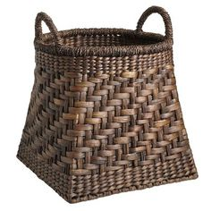 """This Torrance Floor Basket from Pier 1 is a beautiful example of easy """"pick up"""" storage!  Place a couple of these around your house where you need to gather clutter quickly, or store items such as magazines, firewood, etc.  Plastic bins do not an attractive house make!"""