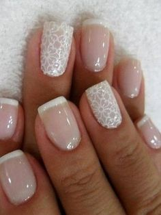 baby pink and white art flower design wedding nails