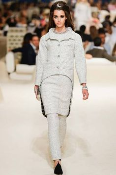 The shape of that jacket! Modern cocoon tails in softy tweedy delight!  Chanel Resort 2015 Collection Slideshow on Style.com