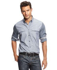 INC International Concepts Shirt, Long Sleeve Carraway Shirt - Macy's