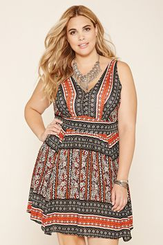 Forever 21+ - A sleeveless woven dress with an allover abstract floral print, a V-cut back, and a lace-up neckline.
