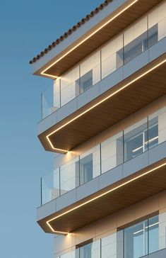 Solutions – linear lighting theme week: MAR DE FONDO by Minimal Studio archello… – Lighting Balcony Lighting, Facade Lighting, Linear Lighting, Exterior Lighting, Outdoor Lighting, Landscape Lighting, Lighting Ideas, Light Building, Building Facade