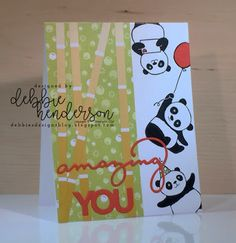 Debbie's Designs: New Catalog Swaps from Maine using Stampin' Up! Party Panda's, Bubbles & Fizz Designer Paper and Celebrate You Thinlits Dies. Diy Paper, Paper Crafts, Panda Party, New Catalogue, Stamping Up Cards, Heartfelt Creations, Paper Design, Party Hats, Homemade Cards