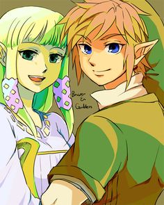 "Zelda & Link Another pinner said,""Good pic but HER EYES ARE NOT GREEN >:("""