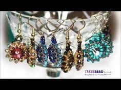 Swarovski rivoli beaded drop earrings - seed bead tutorials