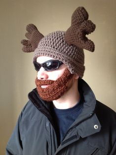 Hahahaha!!! Yesss!!!!  Handmade Crochet Moose Beard Hat in light brown by SueStitch, $49.99