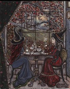 This is a high quality professional printed print of an original illustration. It comes titled and signed by the artist in the back. Two witch friends sit together to turn over cards and sip magically enhanced tea to better read each others fortunes. Fantasy Kunst, Fantasy Art, Halloween Art, Vintage Halloween, Halloween Makeup, Halloween Witches, Vintage Witch, Happy Halloween, Halloween Decorations