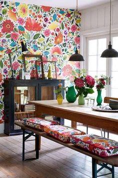 tecido para parede sala de jantar com bancos