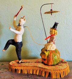 Nostalgic Folk Art,Carol Roll,paper mache mixed media Halloween sculpture decor, pumpkin, krampus,witch by NostalgicFolkArt on Etsy