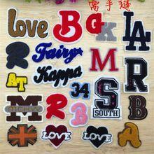 Insignia de la ropa de BRICOLAJE Carta de Parches Para Mujeres y Hombres Ropa de Costura Alfabeto Bordado Con Motivos de Parches Apliques 1 Unids Envío Gratis(China (Mainland))