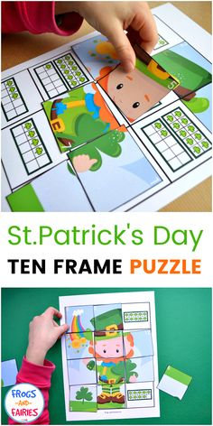 This fun St.Patrick's Day Ten Frame Counting Puzzle is a fun activity for practicing counting and subitizing to 12! Kids will count the shamrocks, find the puzzle piece with matching number and place it on the correct spot! #printablesforkids #counting #stpatricksdayactivities #numbersense
