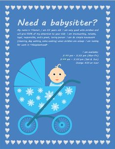 Babysitting-flyer-with-Baby-Carriage