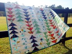 Flying geese w cotton and steel fabric.