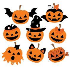 Halloween Pumpkins Clipart & Vector Set Instant Do Halloween Designs, Retro Halloween, Halloween Arts And Crafts, Halloween Tags, Diy Halloween Decorations, Halloween Pumpkins, Fall Halloween, Halloween Vector, Halloween Templates