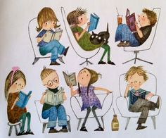Fiep Westendorp Kids Reading Books, Girl Reading Book, Reading Art, Kids Story Books, Library Posters, Library Art, I Love Books, Books To Read, My Books
